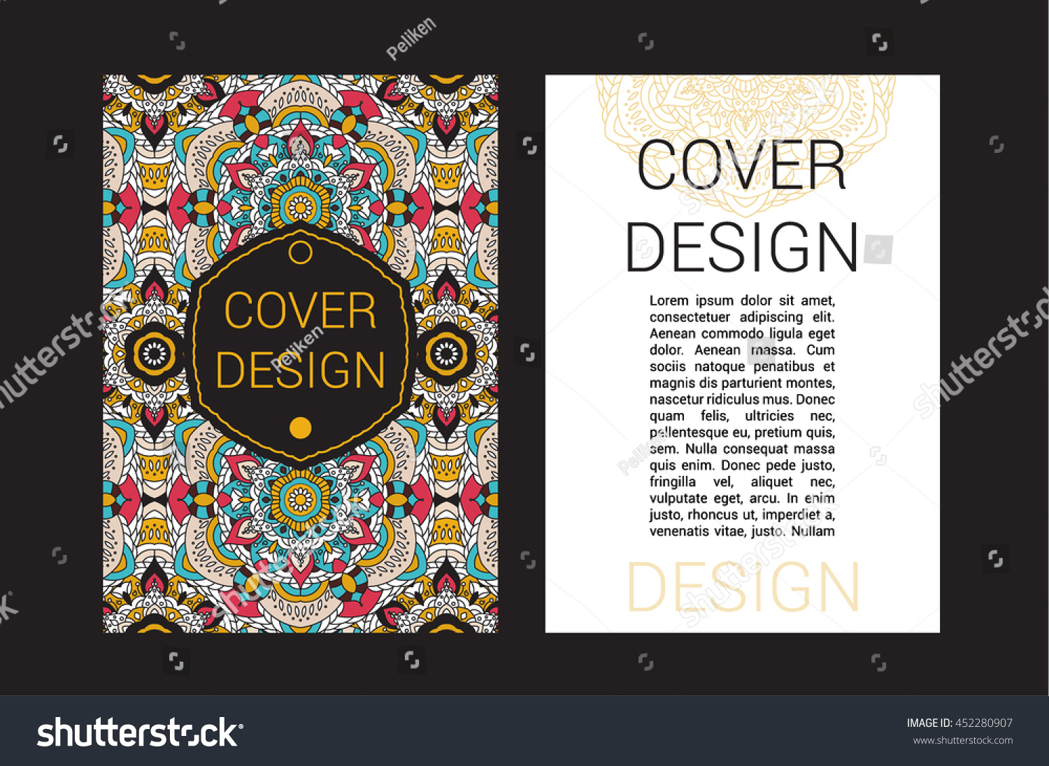 Islamic Book Cover Design Vector ~ Ramadan brochure pages ornament vector illustration stock