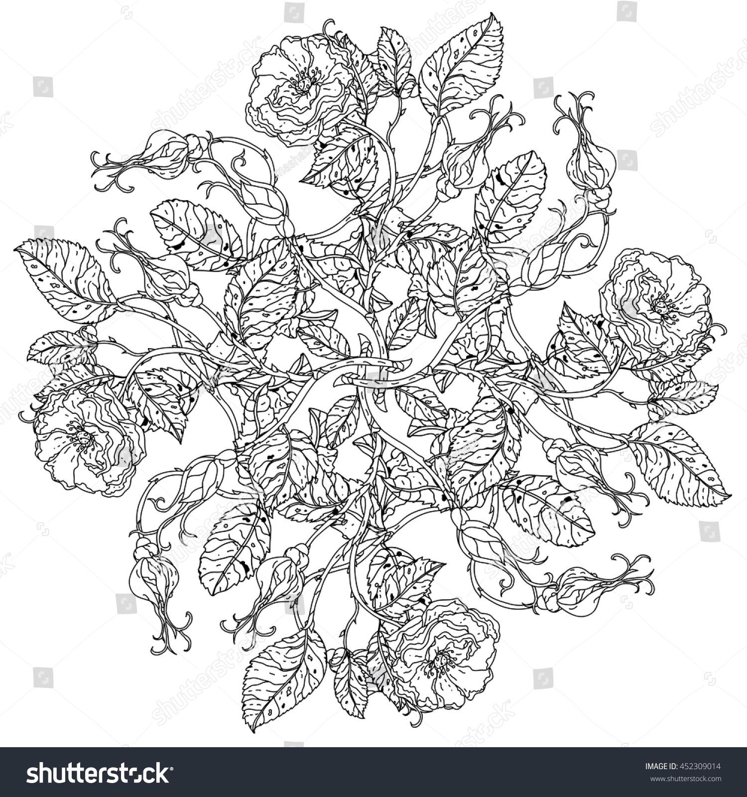 Luxury Flowers Bouquet Shape Mandala Adult Stock Vector 452309014 ...