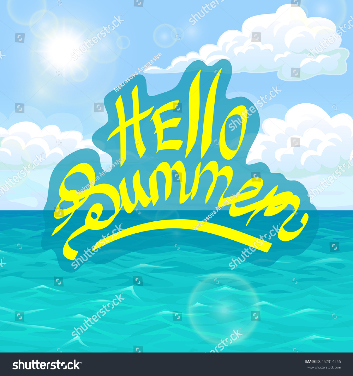 Hello Summer Yellow Lettering On Sea Landscape. Ocean, Blue Waves, Sky,  Clouds