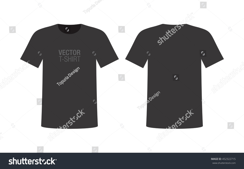 Black t shirt vector photoshop - Vector Shirt Mockup Men S Black Short Sleeve T Shirt Template Front And Back
