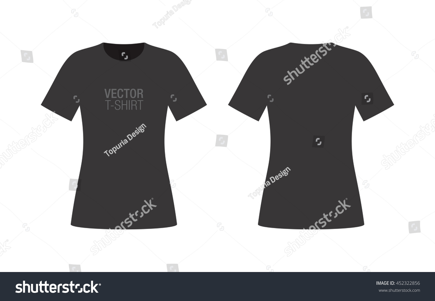 Black t shirt template vector - Vector Shirt Mockup Women S Black Short Sleeve T Shirt Template Front And Back