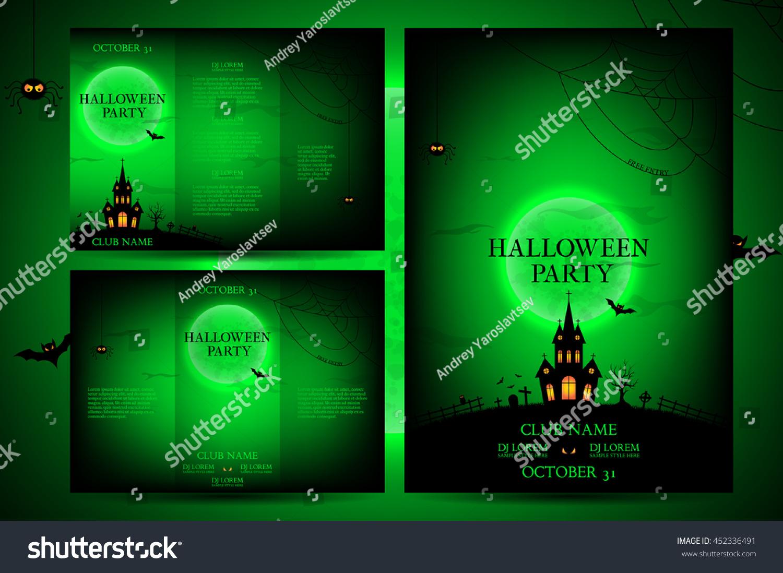 Set Flyers Halloween Vector Illustration Templates Stock Vector