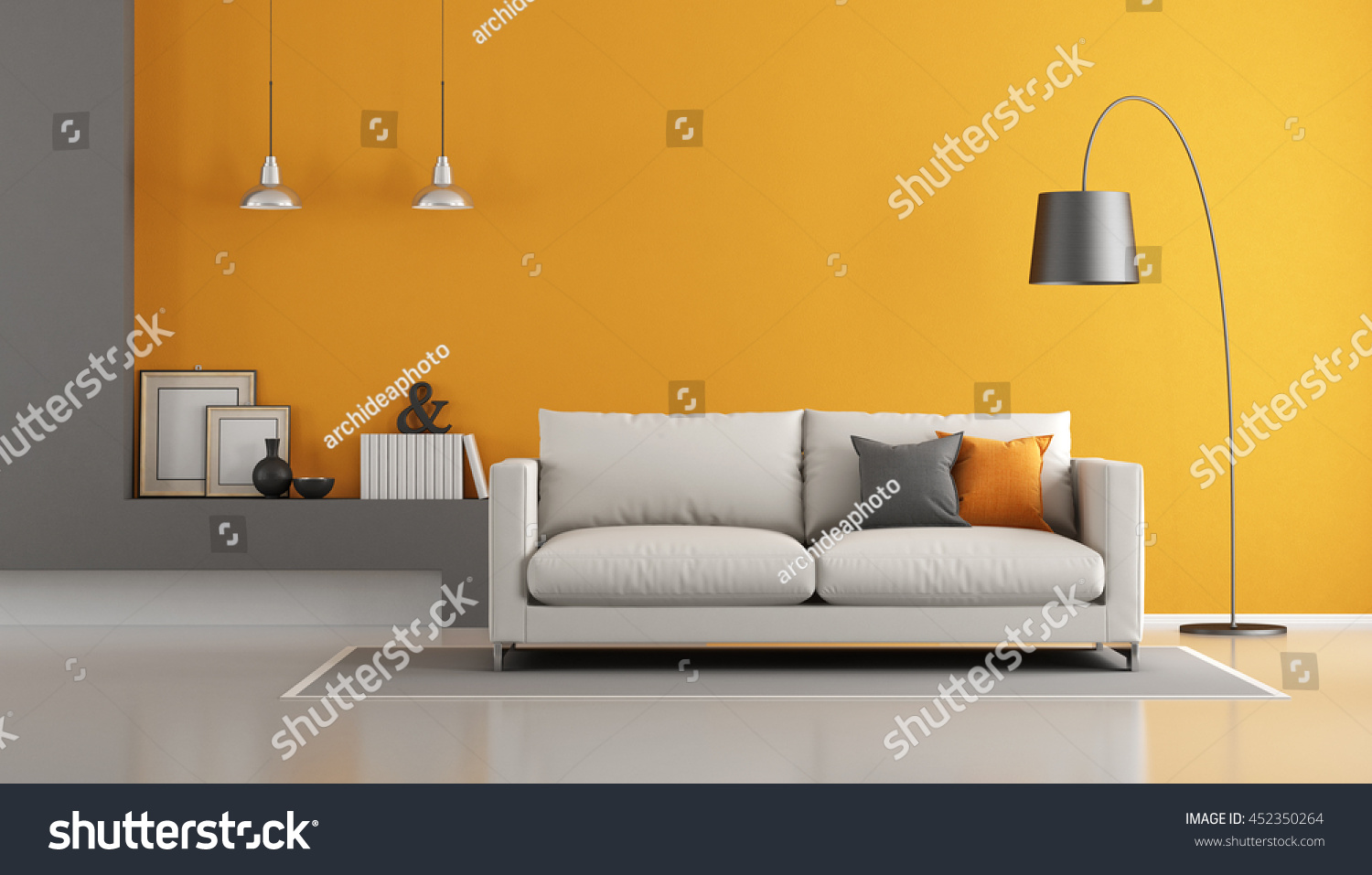 gray orange modern living room sofa stock illustration 452350264