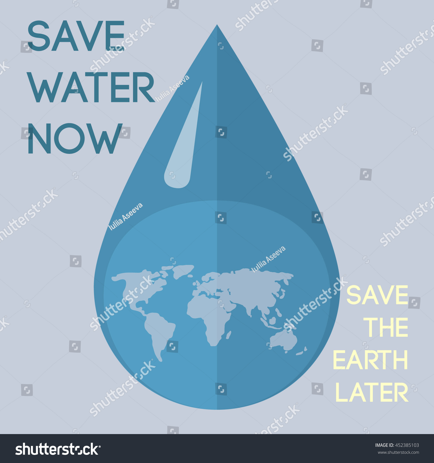 Poster design on save earth - Vector Poster Template With Text Save Water Now Save The Earth Later And