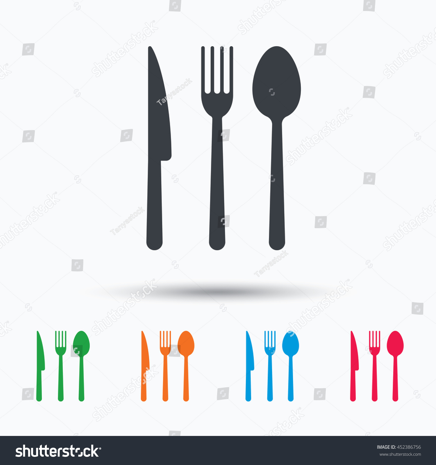 Fork Knife And Spoon Icons Cutlery Symbol Colored Flat Web Icon