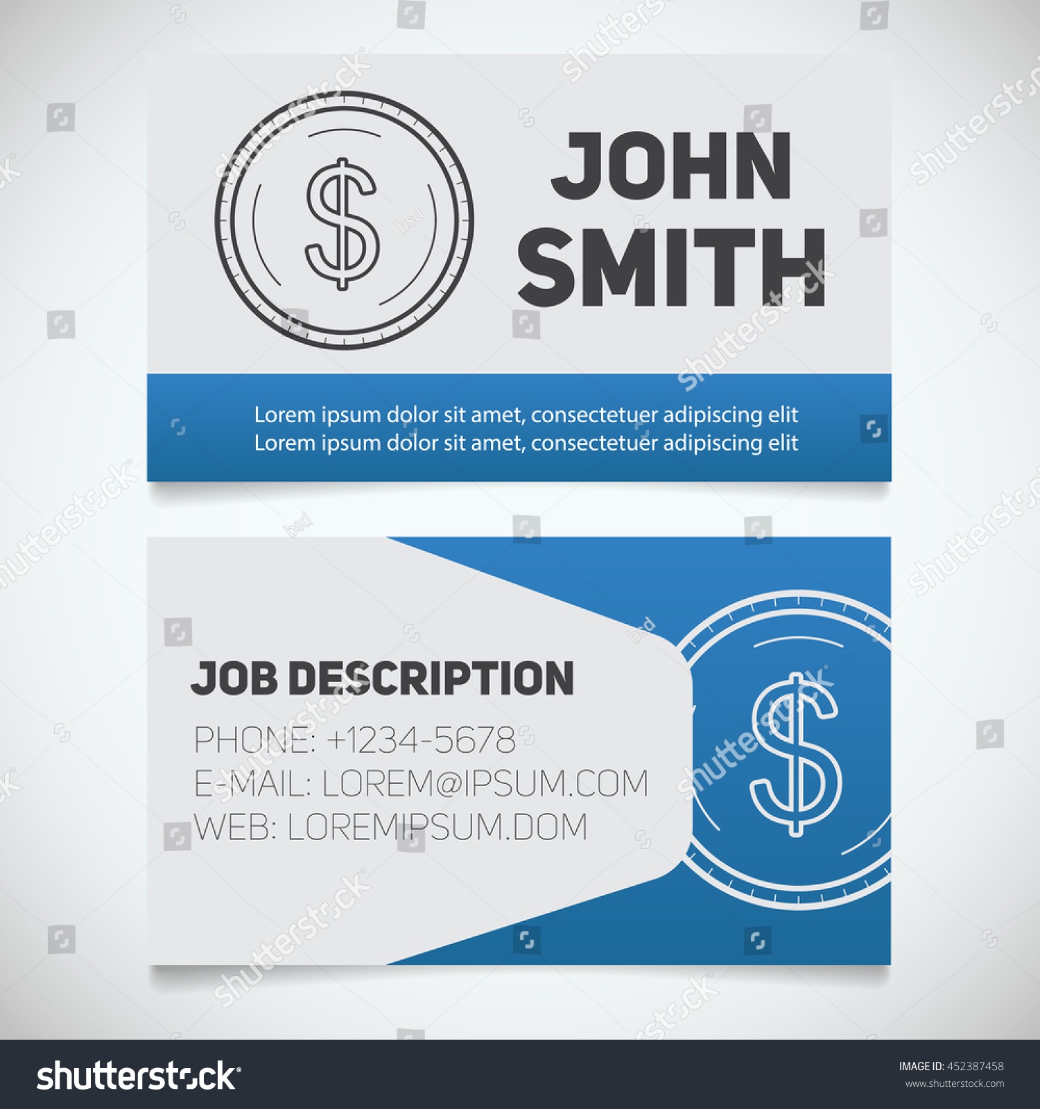 Business card print template dollar coin stock vector 452387458 business card print template with dollar coin logo easy edit accountant bank worker colourmoves