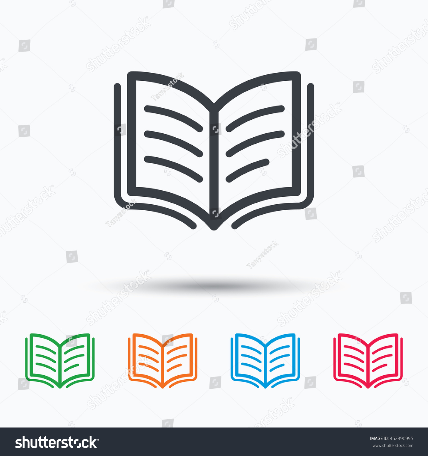 book icon study literature sign education stock vector  study literature sign education textbook symbol colored flat web icon on