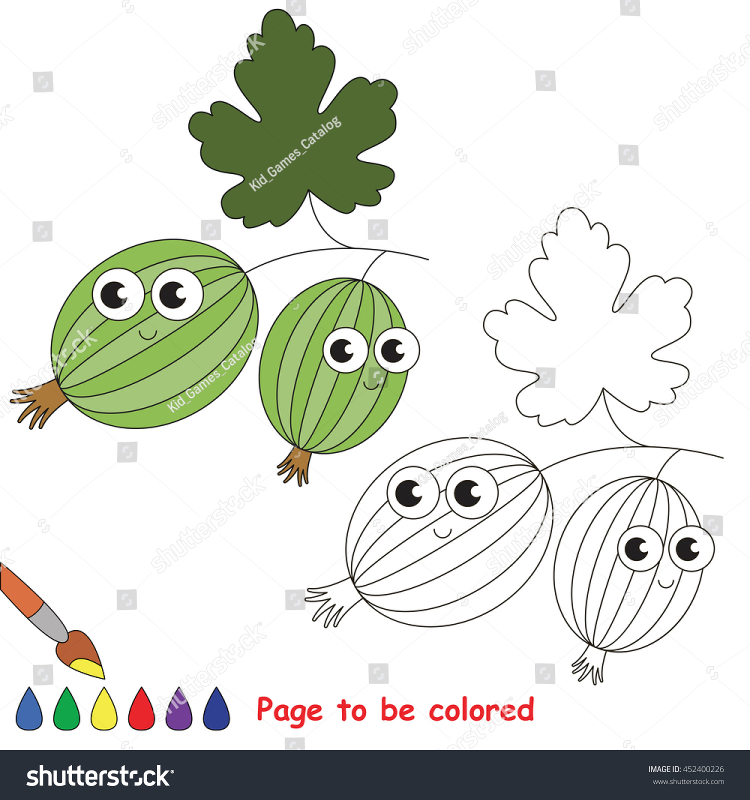 Cute Gooseberry Be Colored Coloring Book Stock Vector 452400226 ...