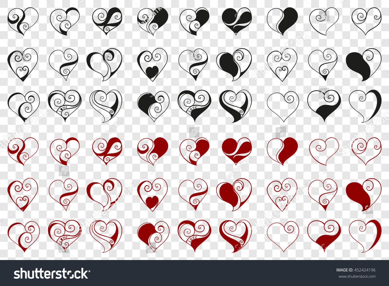 abstract vector illustration floral zen tangle stock vector  - abstract vector illustration of floral zen tangle  hearts handdrawnset black