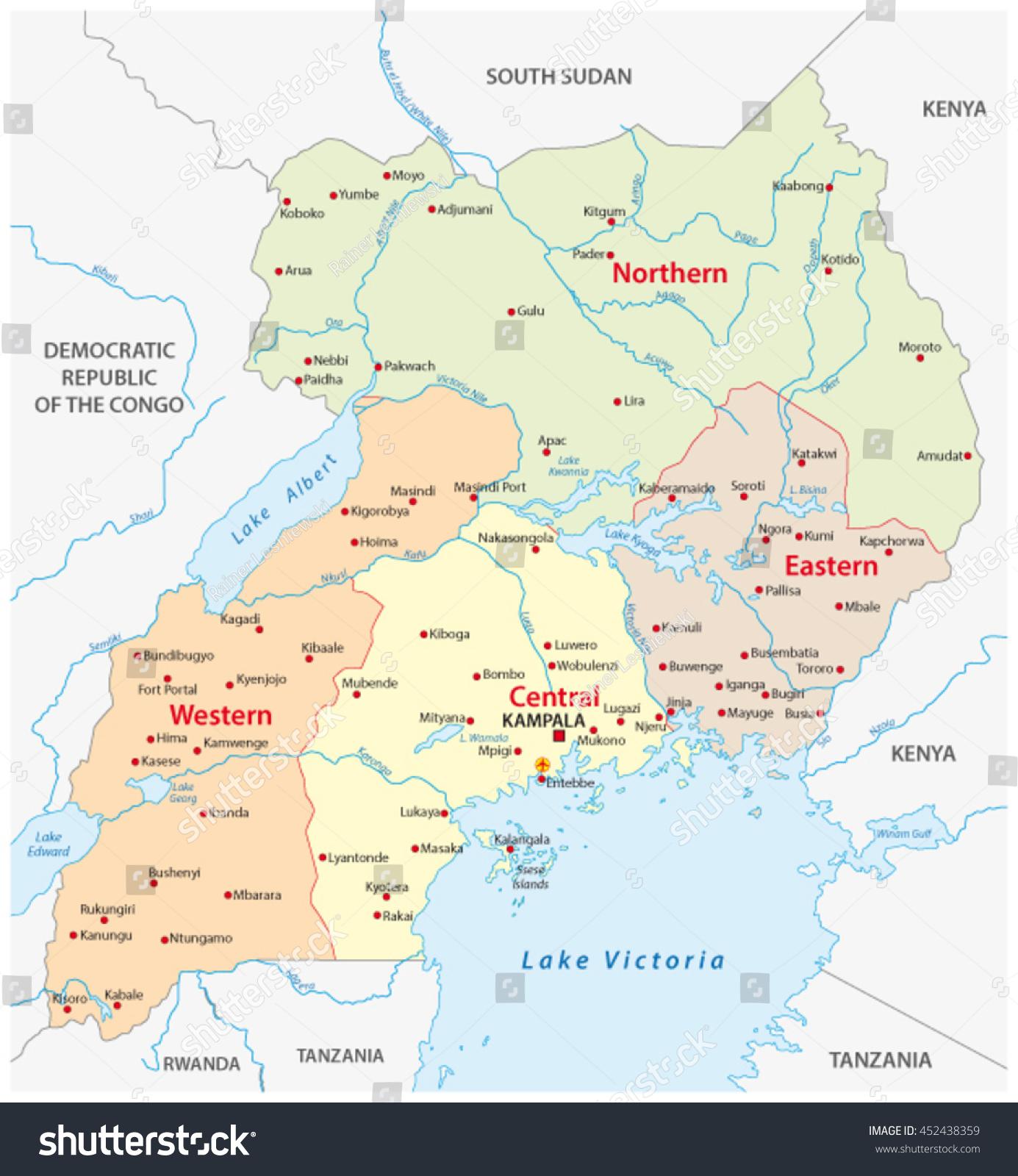Vector Administrative Political Map Republic Uganda Stock Vector