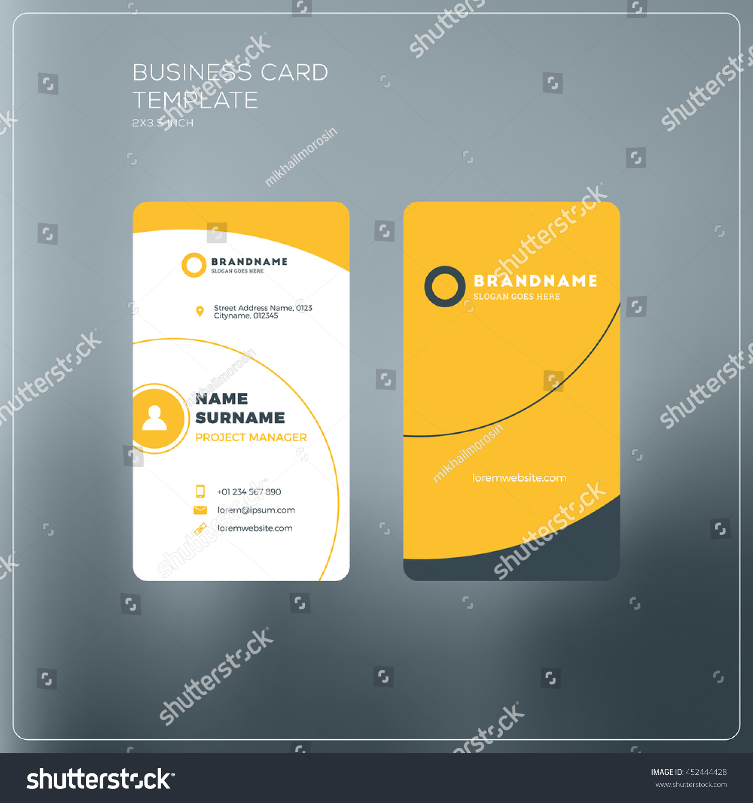 Vertical business card template company logo stock photo photo vertical business card template with company logo two sided business card mock up with accmission Gallery