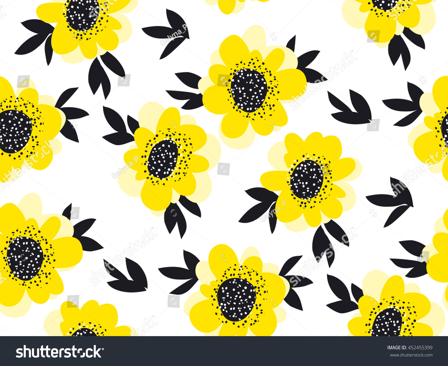 Yellow Color Abstract Camellia Flowers Seamless Stock Vector