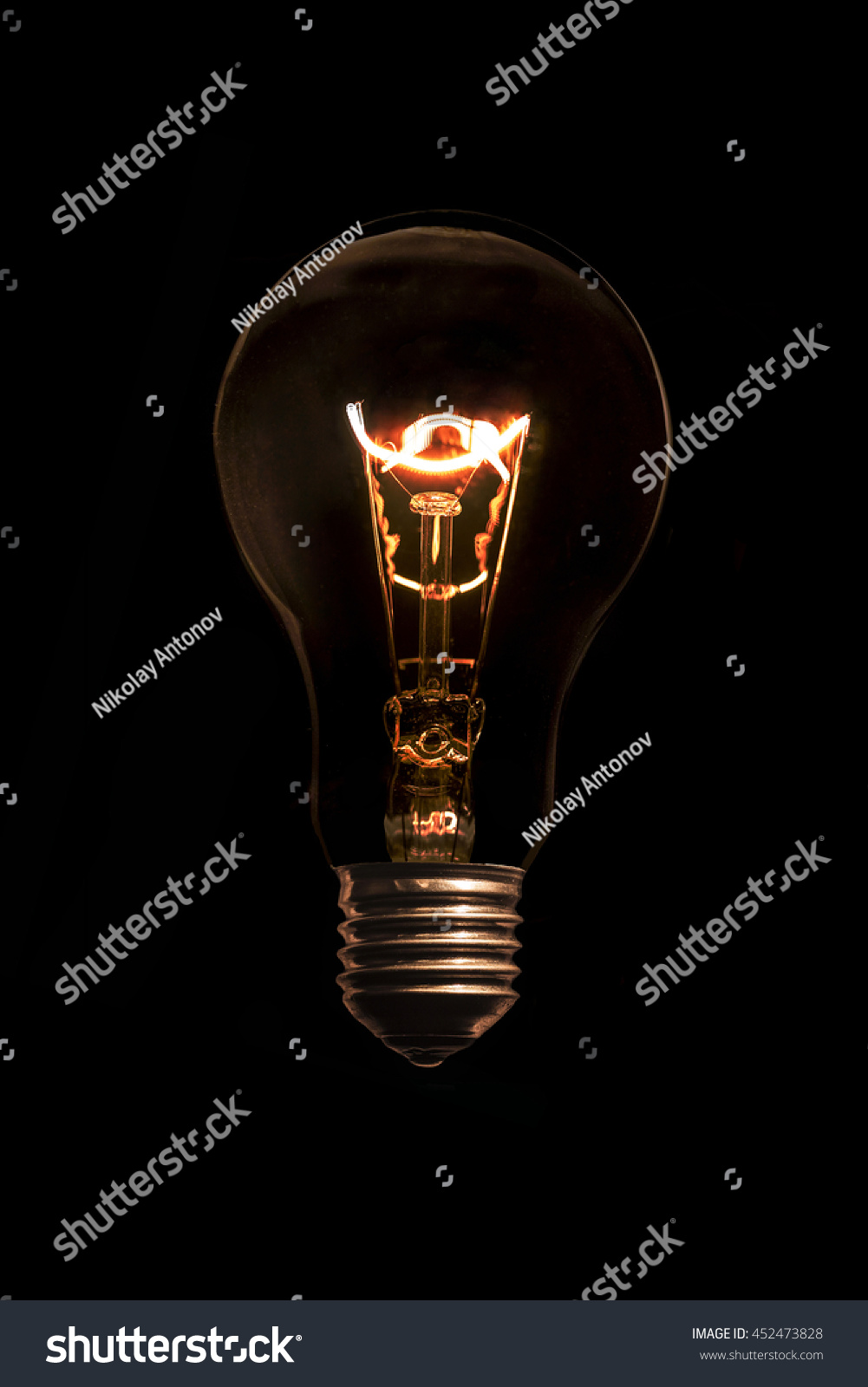 Glowing Light Bulb Without Wires On Stock Photo 452473828 ...