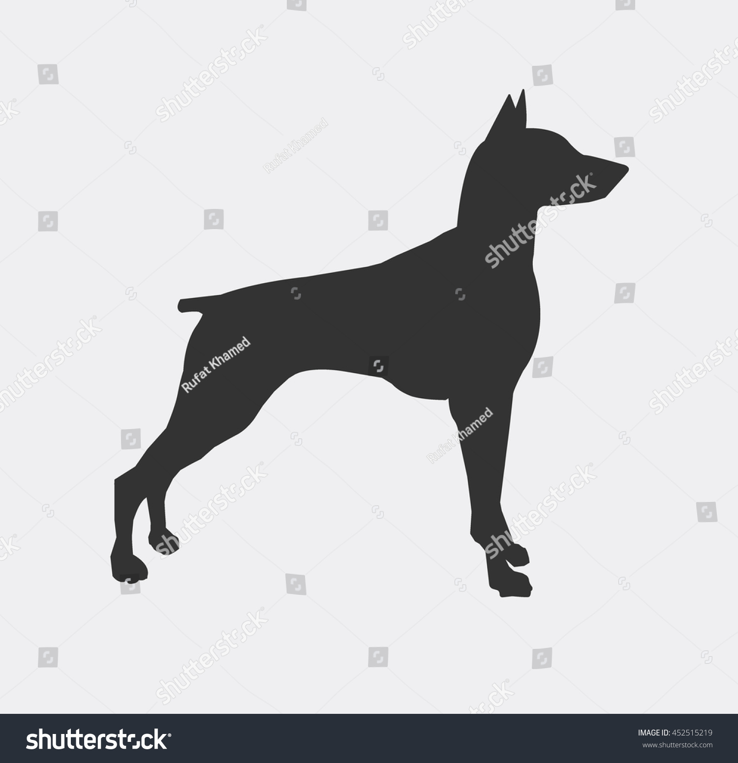 doberman dog iconpet silhouette vector