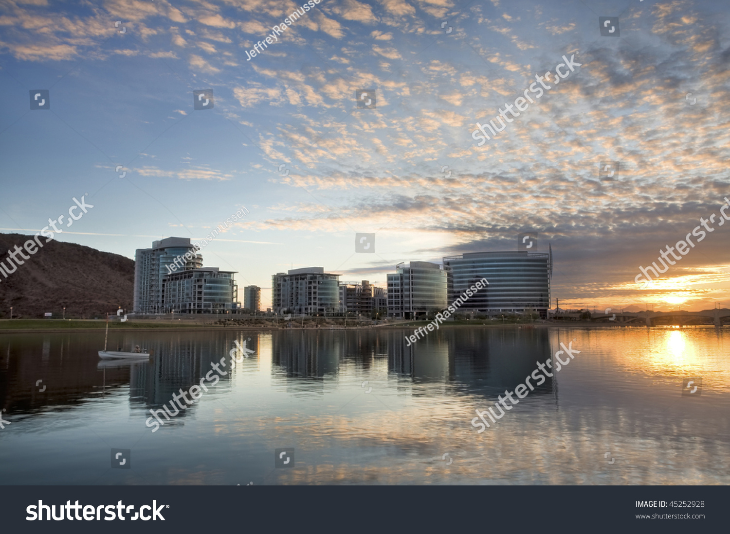 Downtown tempe office and condo buildings with tempe town for Tempe town lake fishing