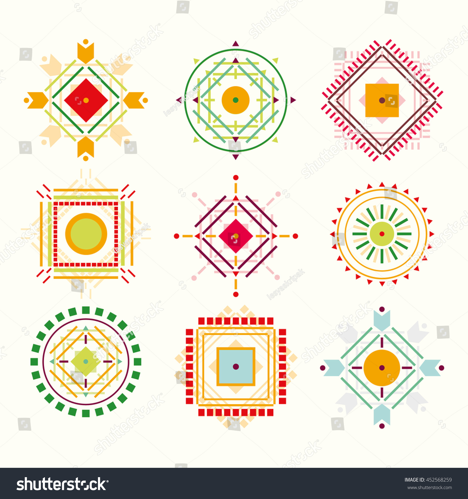 Set tribal indian elements logos symbols stock illustration set with tribal indian elements logos and symbols ethnic colorful decorations biocorpaavc Images
