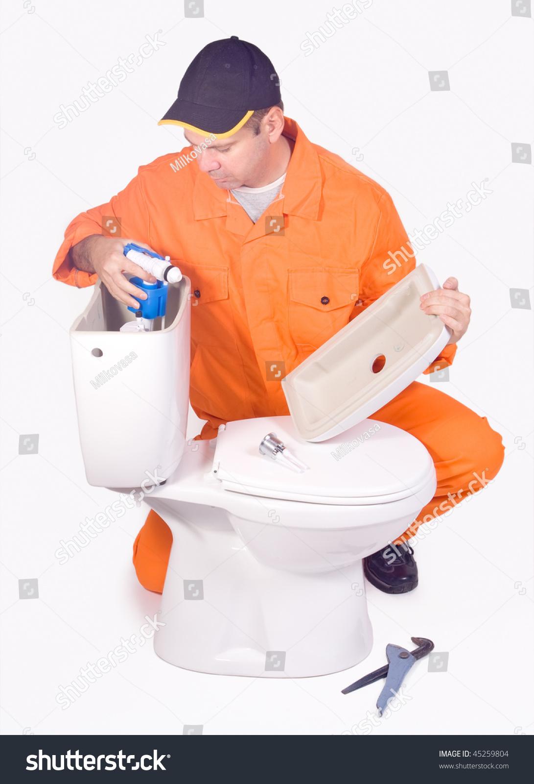 Plumber Mounted Toilet Bowl On White Stock Photo (Royalty Free ...