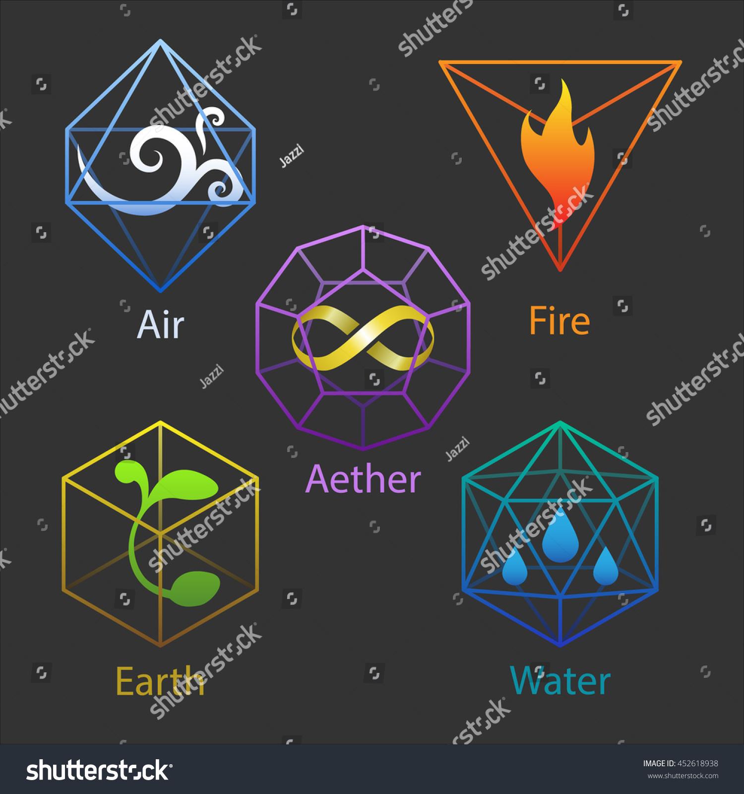 Set Five Icons Elemental Symbols Air Stock Vector Royalty Free