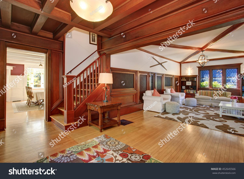 Luxury Living Room Interior Wooden Walls Stock Photo Edit Now 452645566