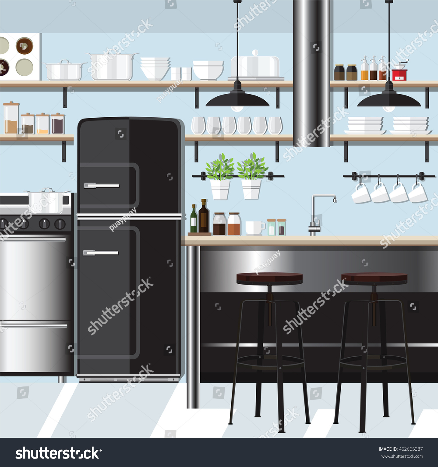 Flat Kitchen Interior With Bar Counter