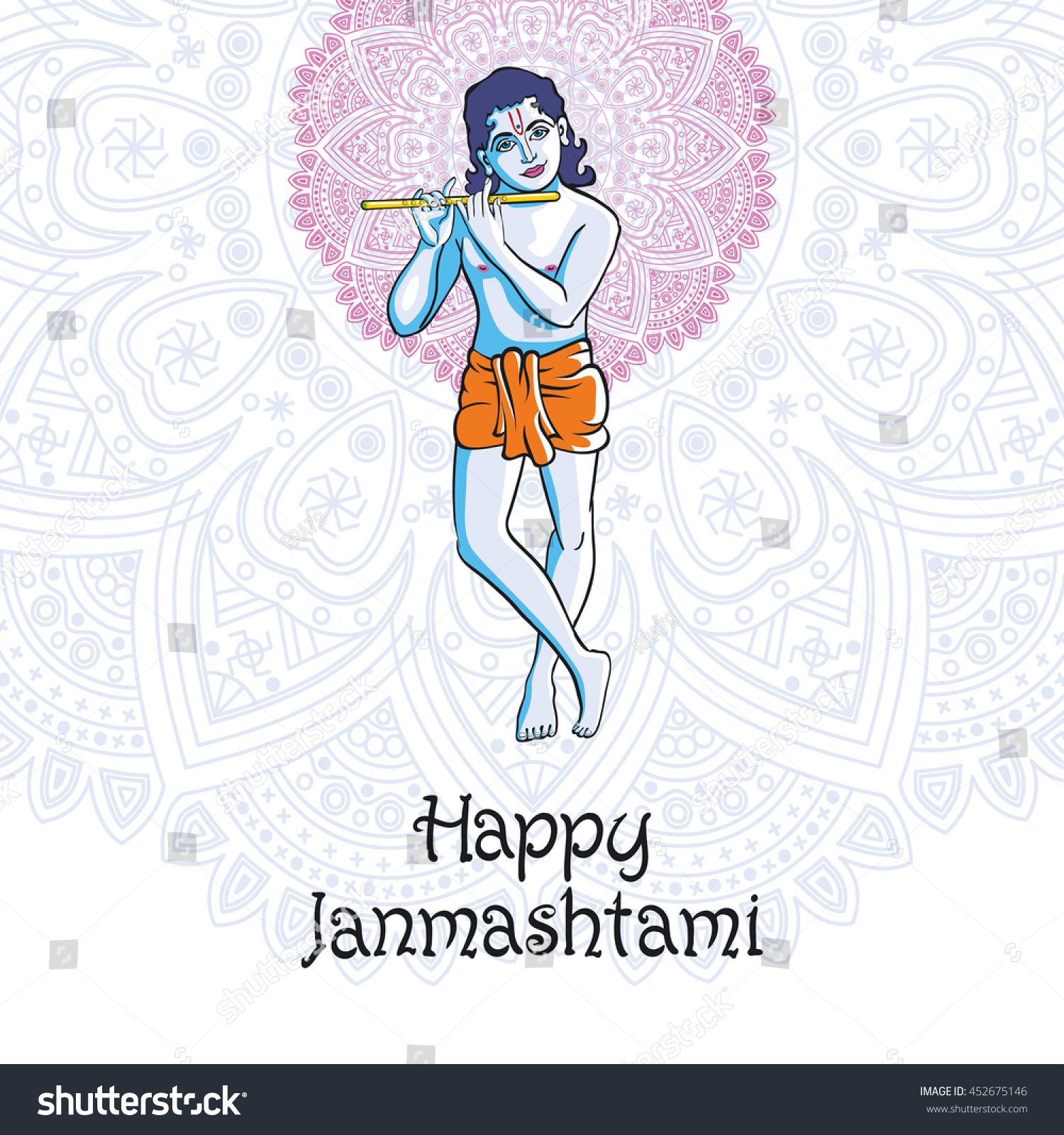 Hindu young god Lord Krishna Happy janmashtami art