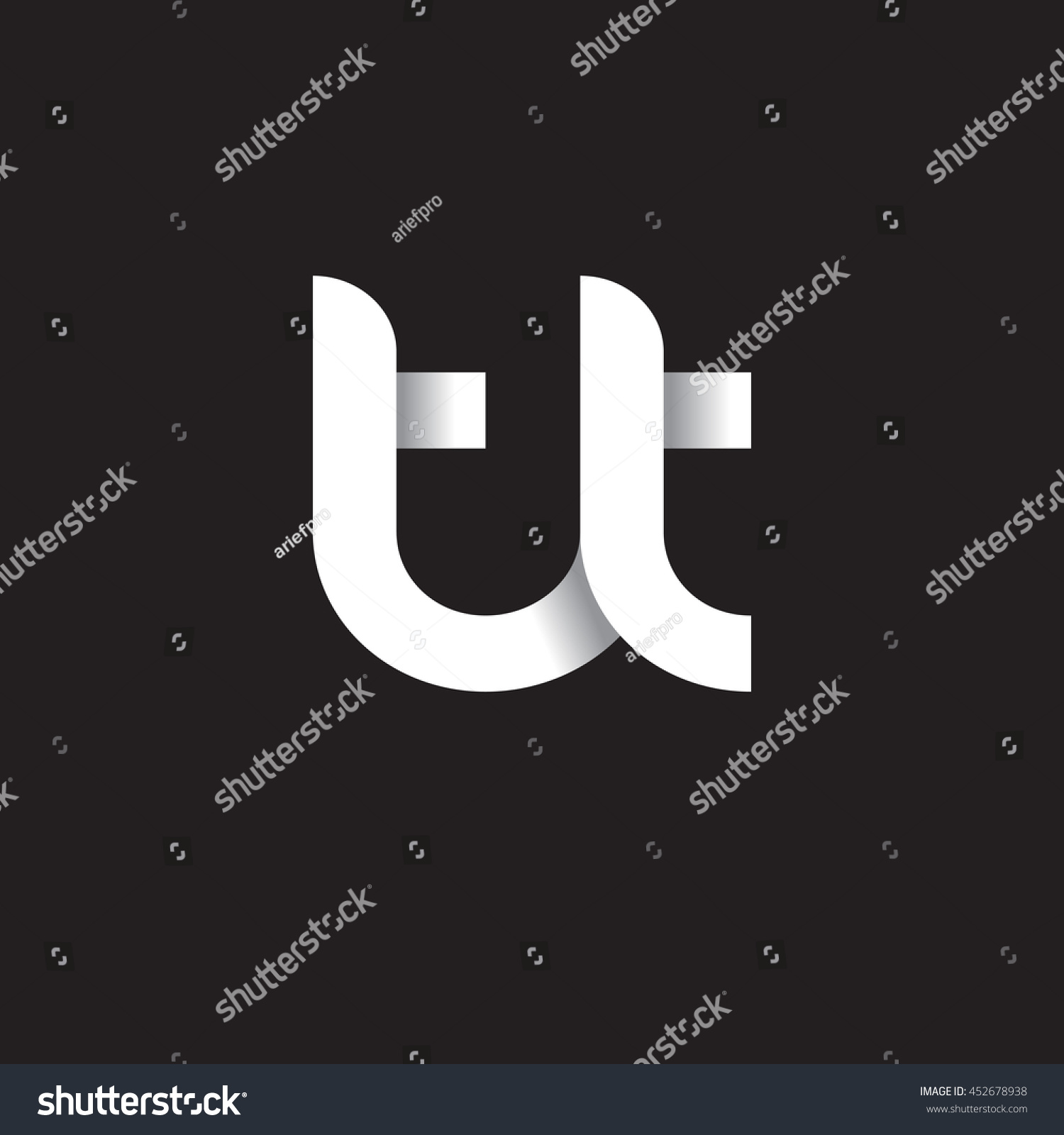 Tj initial luxury ornament monogram logo stock vector - Initial Letter Tt Modern Linked Circle Round Lowercase Logo White Black