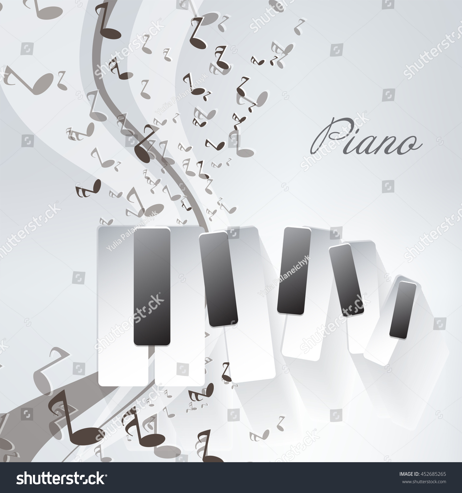 Piano Notes Background Stock Vector Royalty Free 452685265 Diagram With