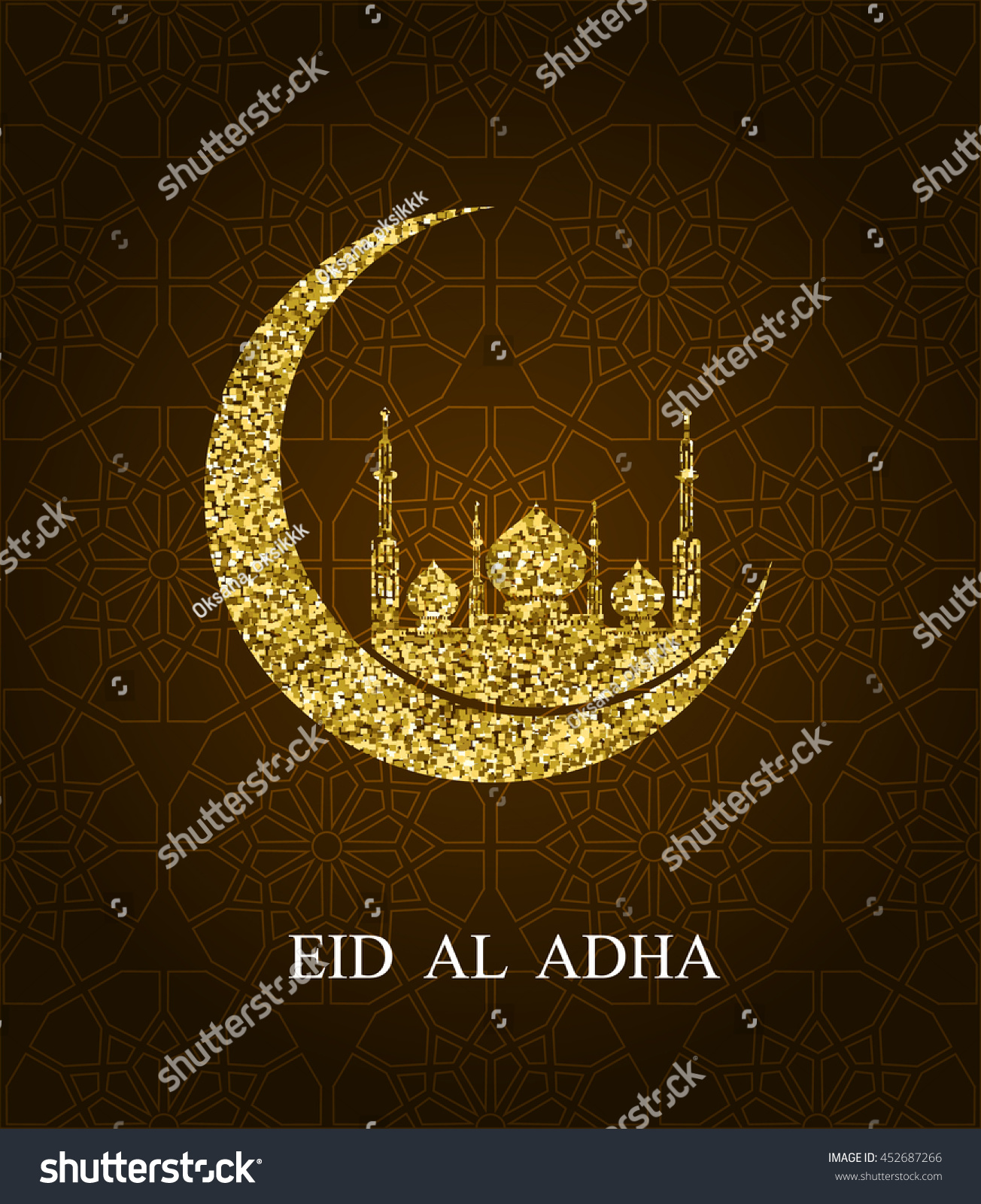 Eid al adha greeting card eid stock vector 452687266 shutterstock eid al adha greeting card eid mubarak glitter effect crescent moon and mosque silhouette on kristyandbryce Images