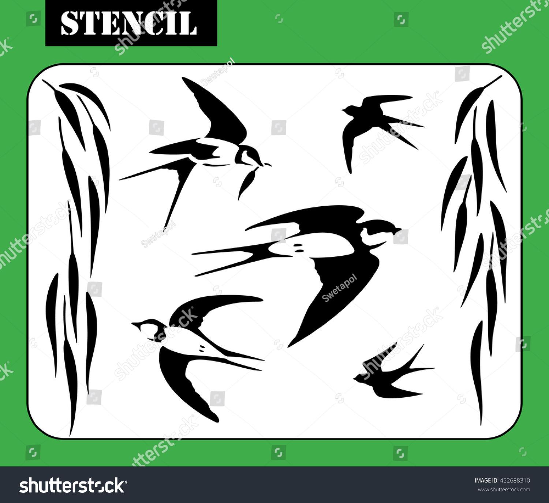 Stencil Vector Illustration Flying Swallows Weeping Stock Vector