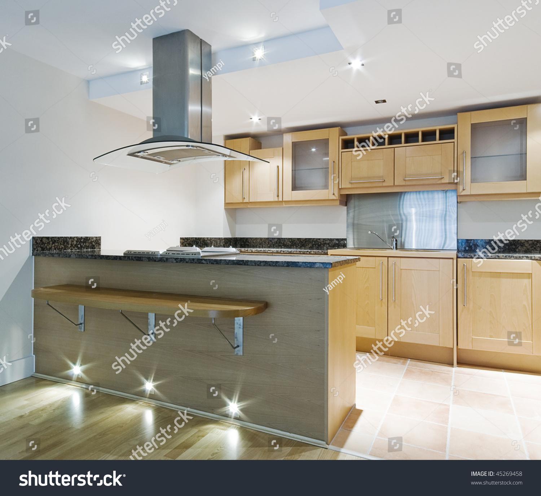 Modern Kitchen Isle Breakfast Bar Designer Stock Photo 45269458 Shutterstock