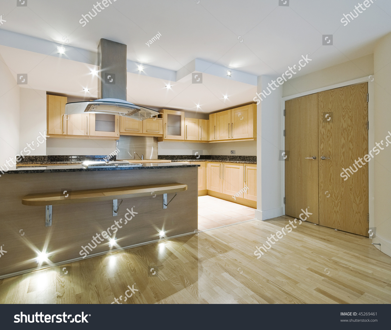 Modern Luxury Open Plan Kitchen Breakfast Stock Photo