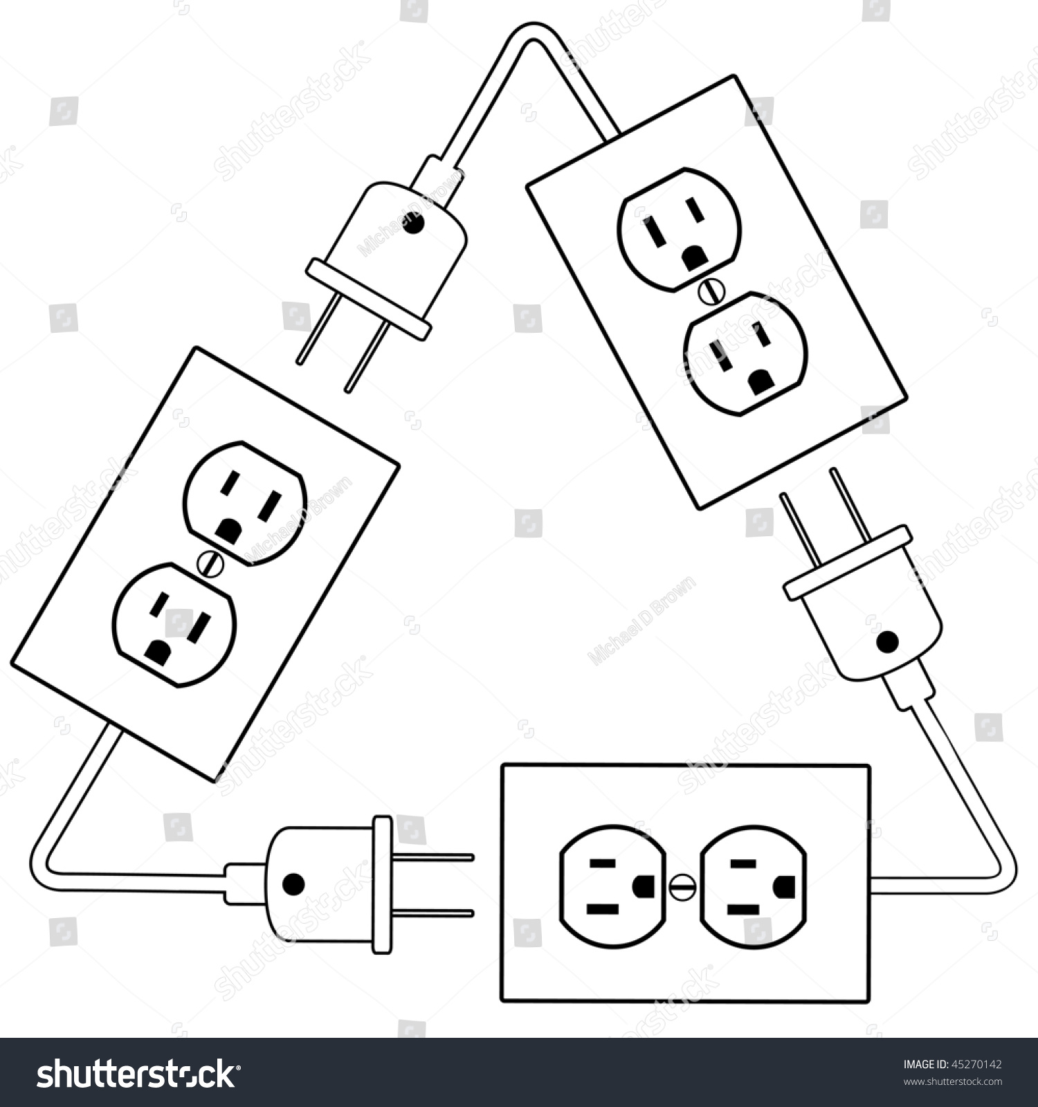 Recycle Electric Energy Symbol Electrical Outlets Stock Vector 2018