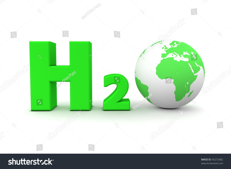 Chemical Symbol H 2 O Hydrogen Oxide Green Stock Illustration