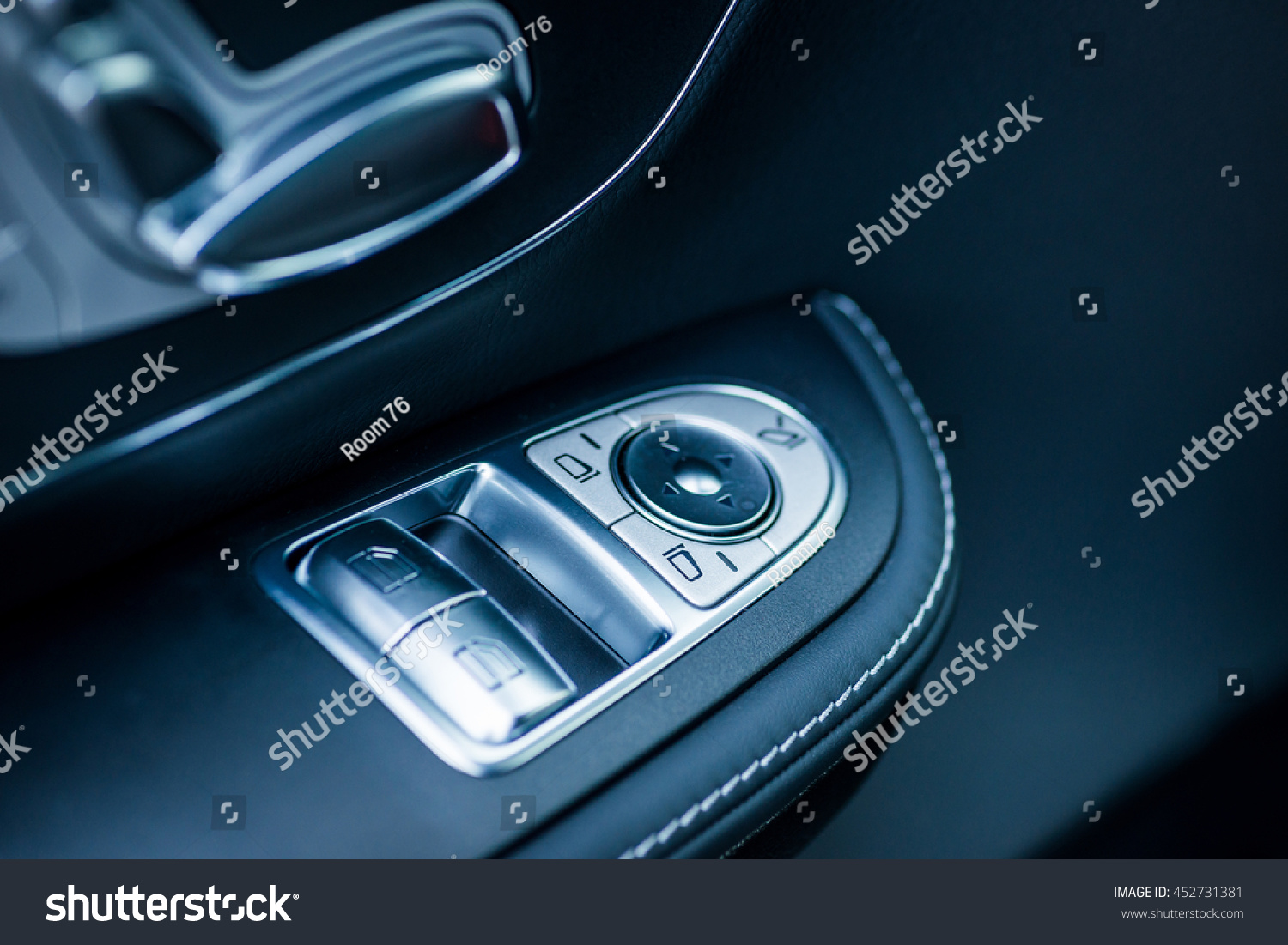 luxury car interior seat window controls stock photo 452731381 shutterstock. Black Bedroom Furniture Sets. Home Design Ideas