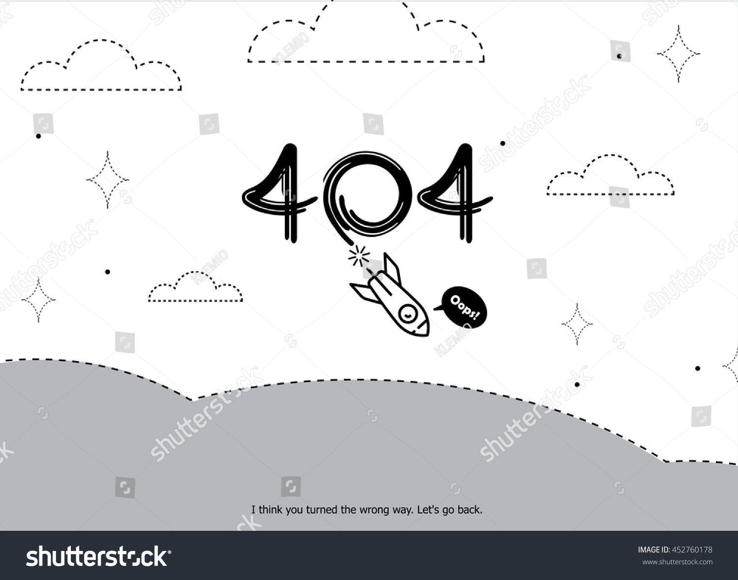 page not found error 404 layout stock vector 452760178 shutterstock