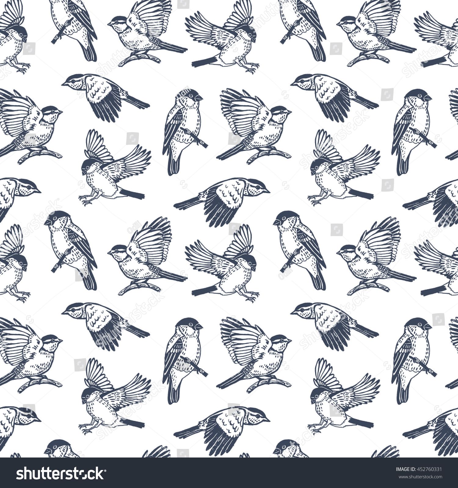 flying bird pattern seamless graphic background stock vector