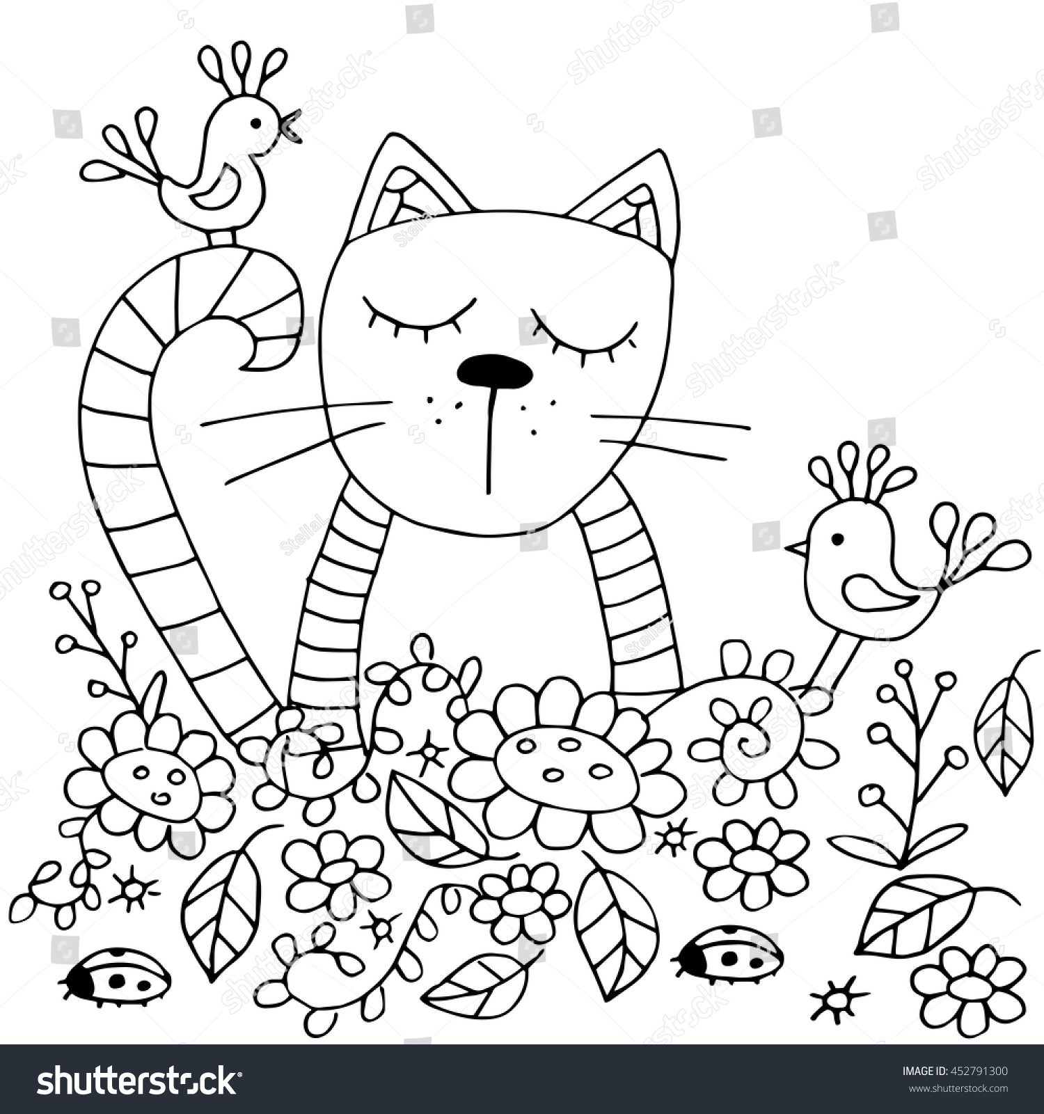 Coloring Pages For Adults The Cat And Birds