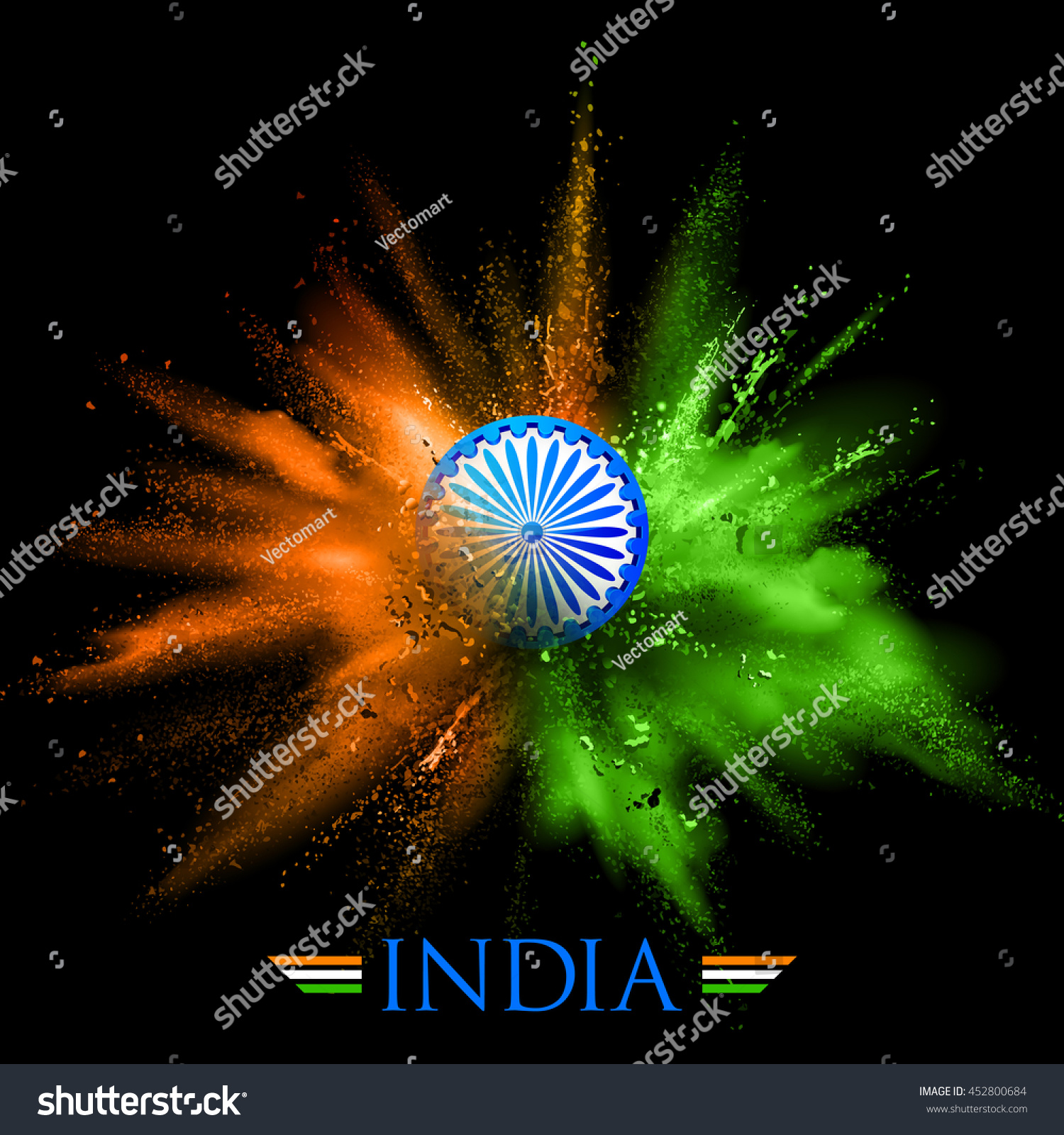 Colors website ashoka - Illustration Of India Background In Tricolor And Ashoka Chakra With Powder Color Explosion