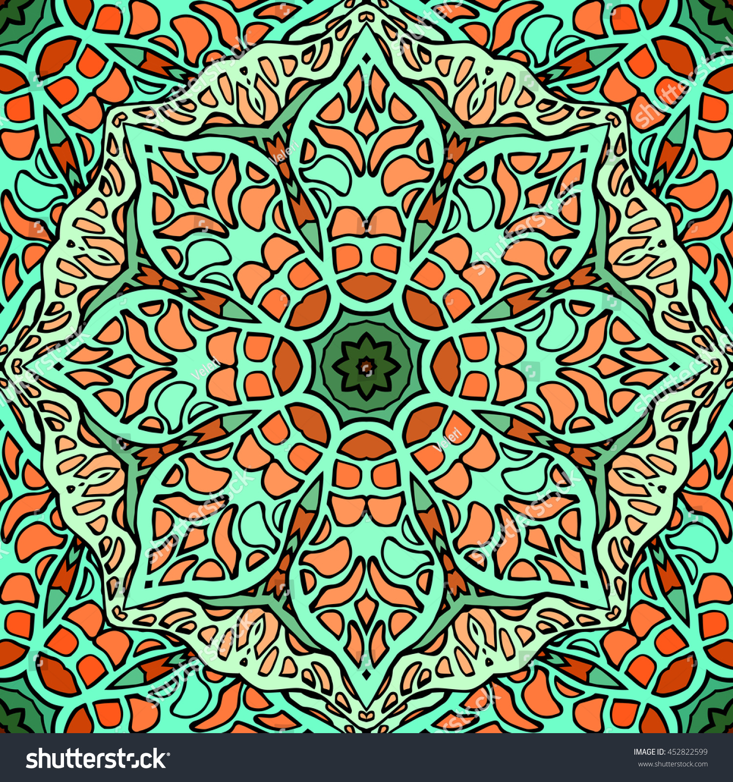 Seamless Texture Stained Glass Doodle Pattern Stock Vector