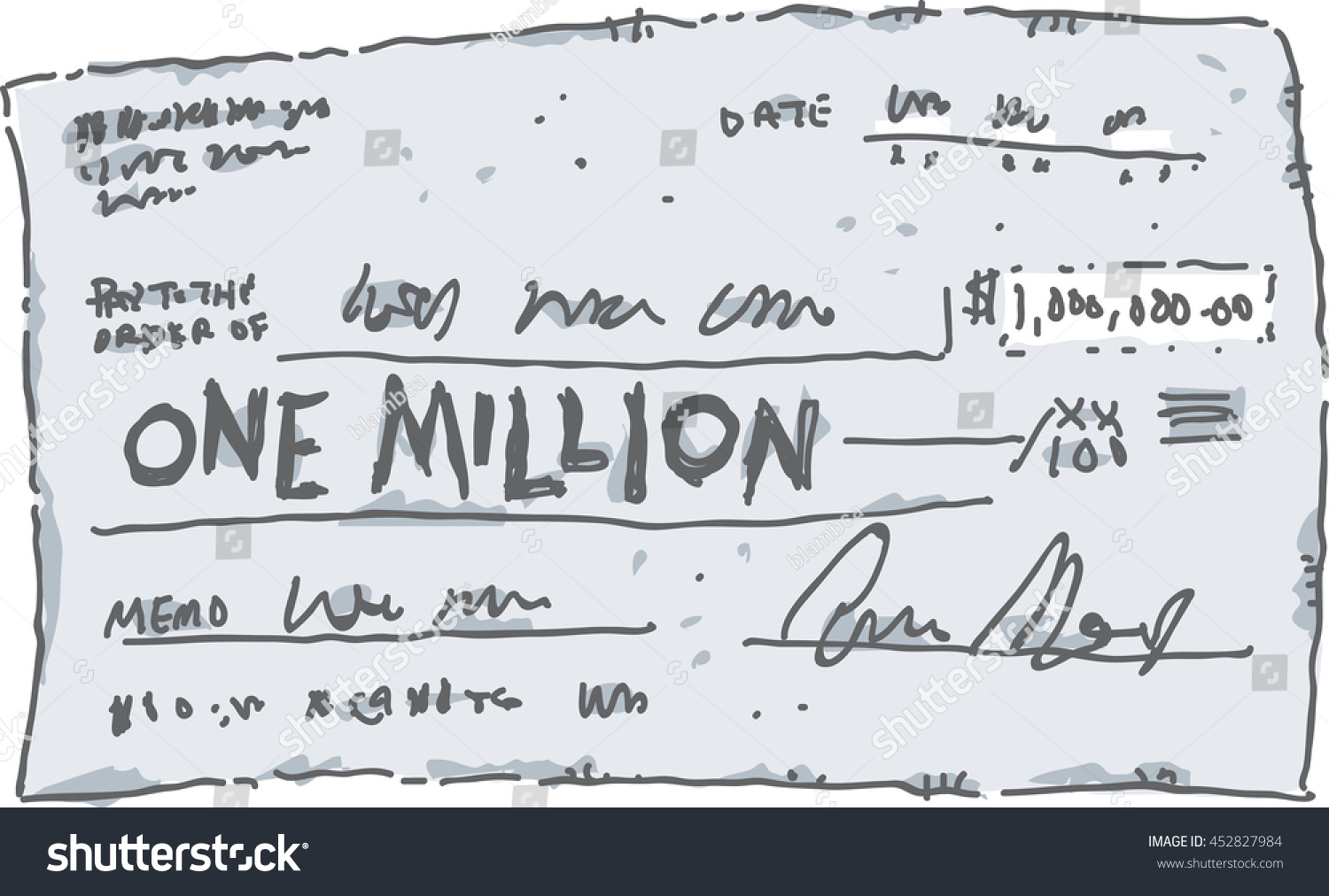 Cartoon Check Filled Out Amount One Stock Vector Royalty Free - Check-filled-out