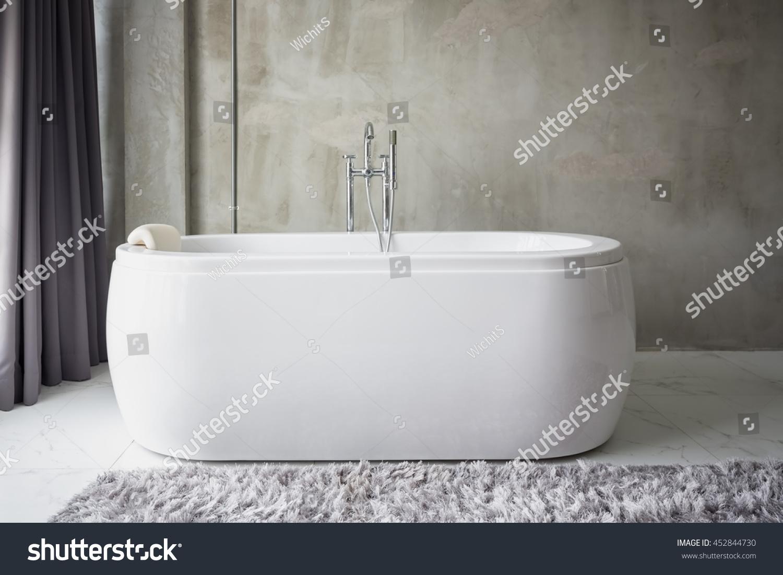Big White Bathtub Middle Industrial Loft Stock Photo (Royalty Free ...