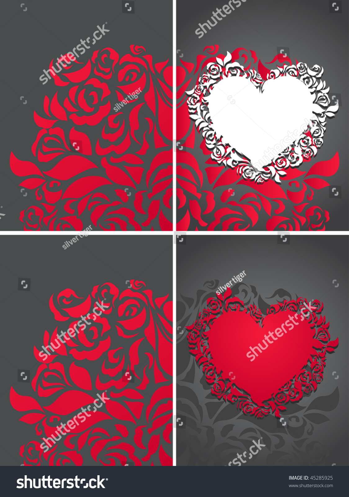 Gothic Heart And Roses Petals Greeting Cards Backgrounds