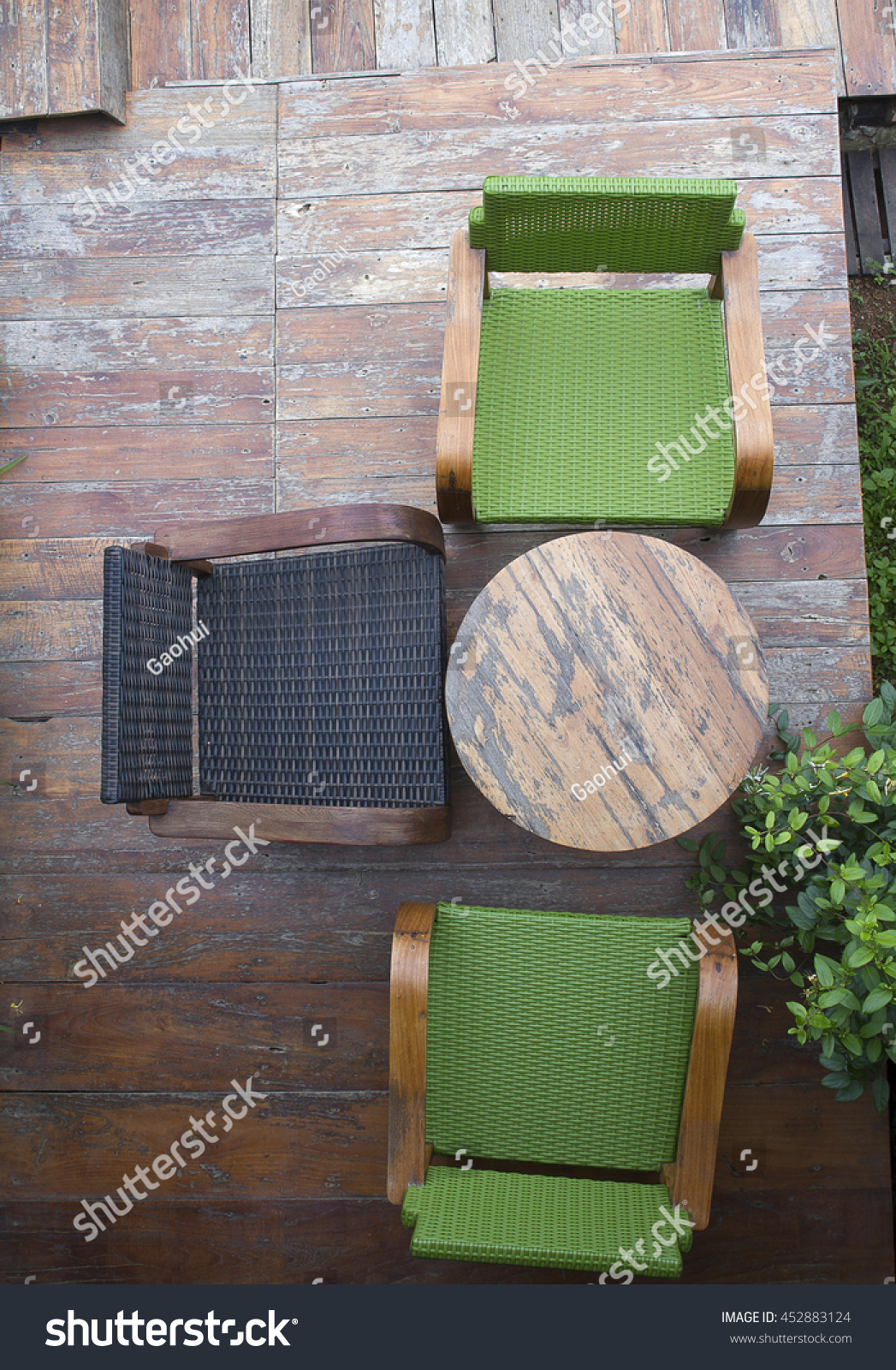 Top View Of Terrace Seating Area In The Garden