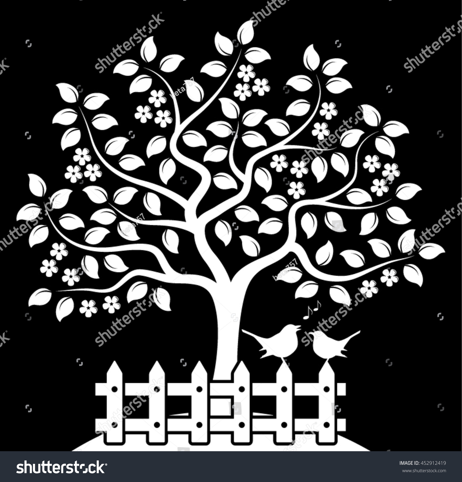 vector flowering tree picket fence couple stock vector