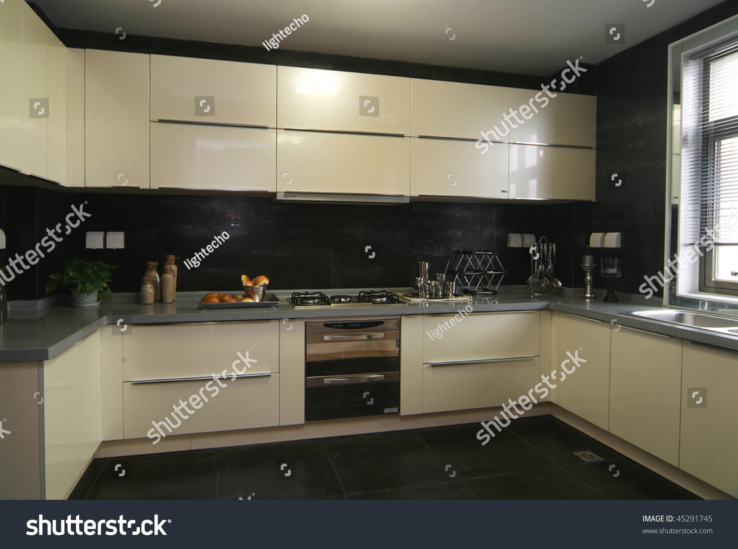 A Decorated Kitchen In Modern European Style
