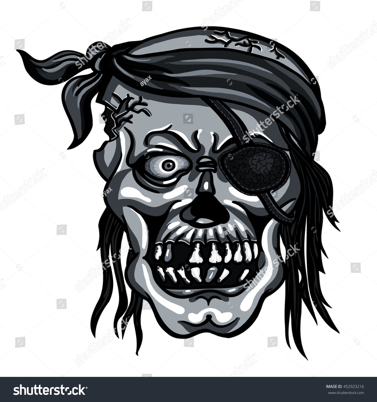danger pirate skull bandanna without one stock vector 452923216