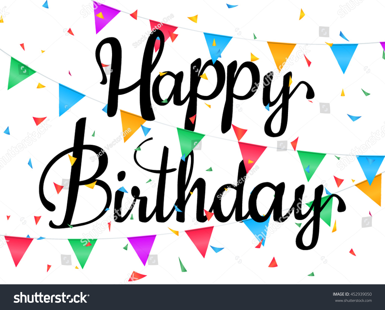 happy birthday poster vector illustration confetti stock vector