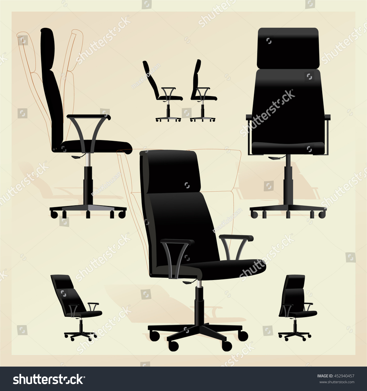 Black Leather fice Adjustable Chair Arms Stock Vector