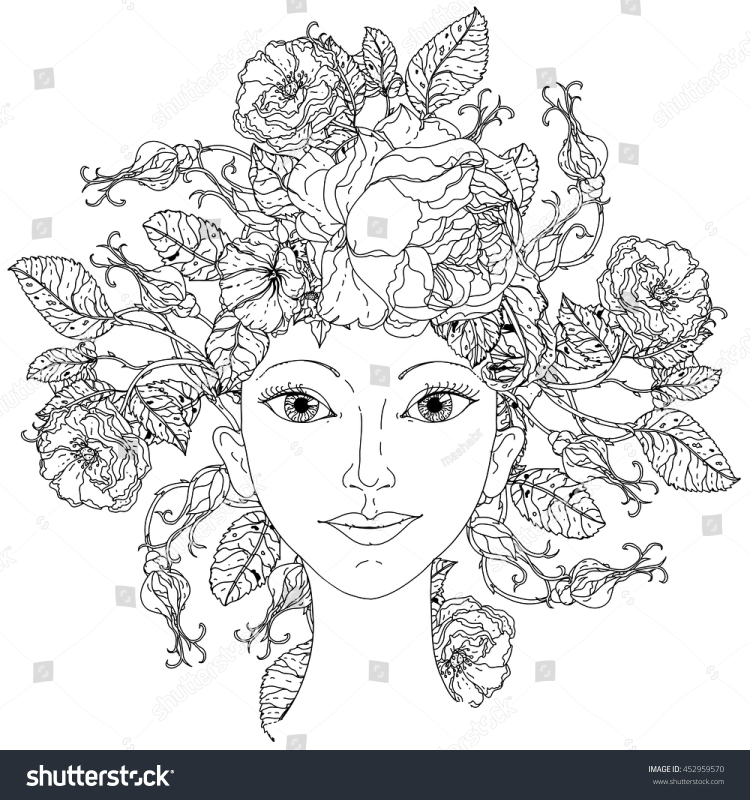 Beautiful fashion woman abstract hair flowers stock vector 452959570 beautiful fashion woman with abstract hair as flowers bouquet in shape of mandala for adult coloring izmirmasajfo Gallery