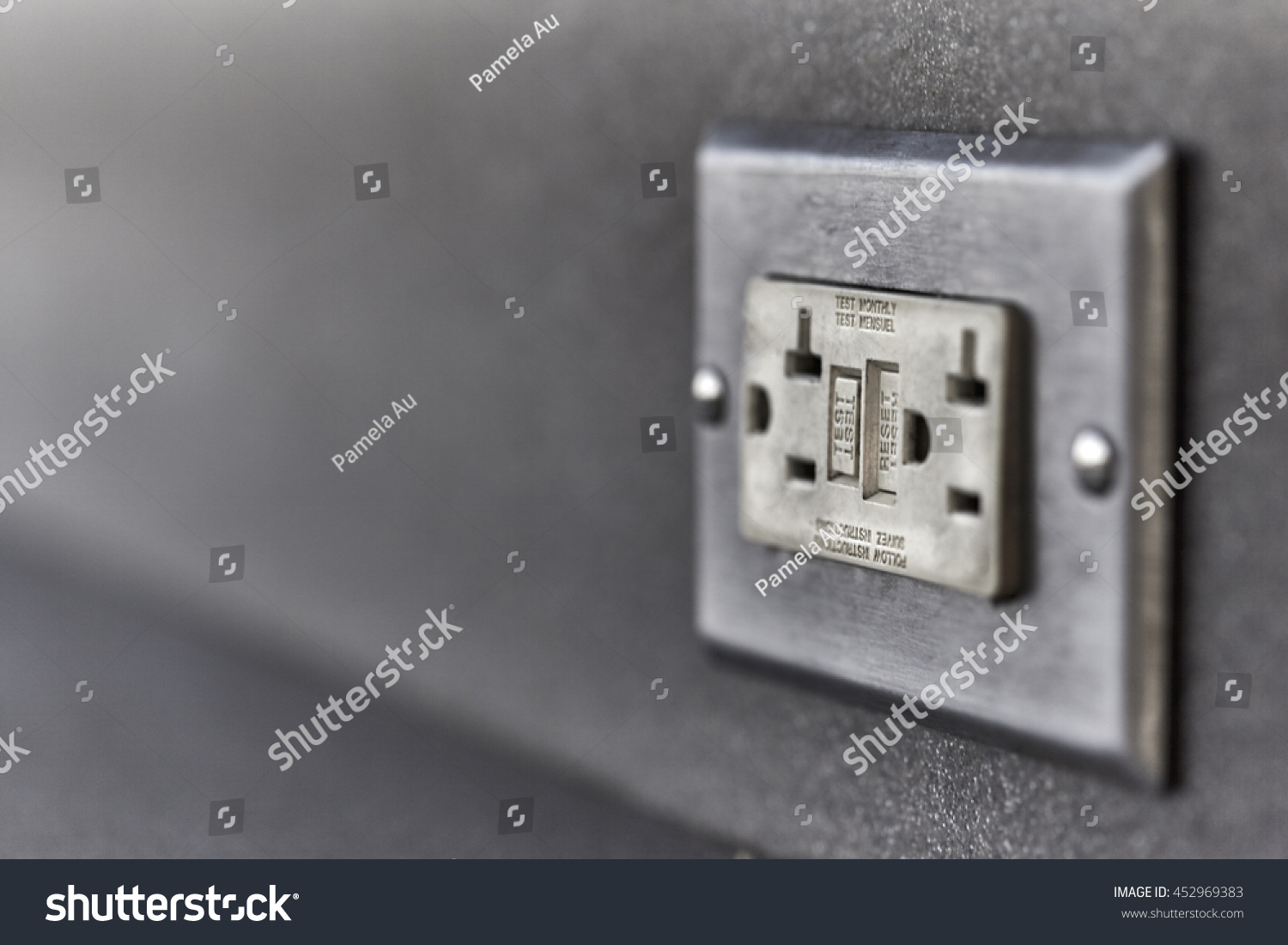 Used Ground Fault Circuit Interrupter Electrical Stock Photo Edit Wall Outlet With Shallow Depth Of Field